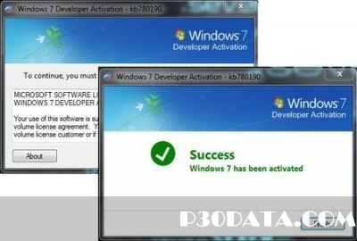 windows 7 Developer activation