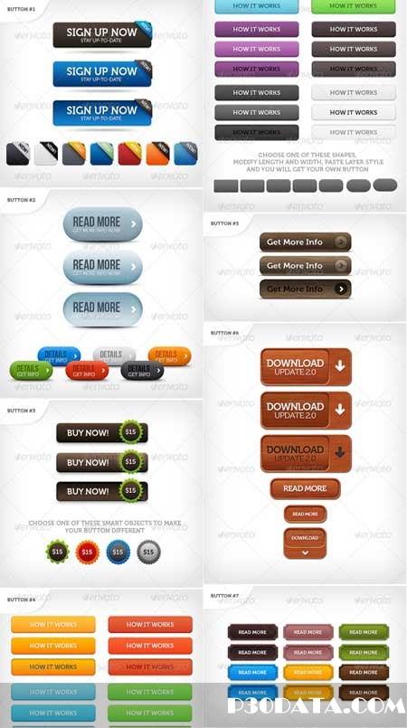 Graphicriver - Just Buttons Photoshop Template