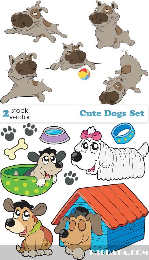 Vectors - Cute Dogs Set