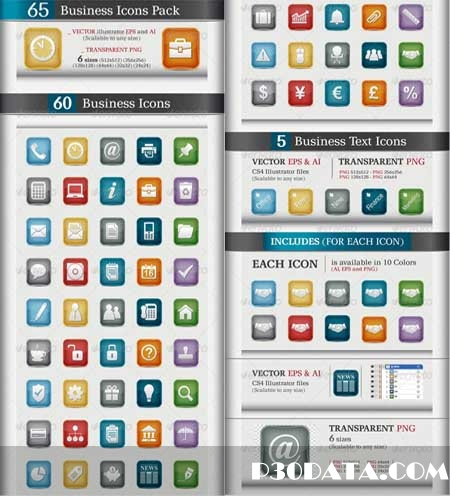 Graphicriver - 65 Business Icons Pack Vector
