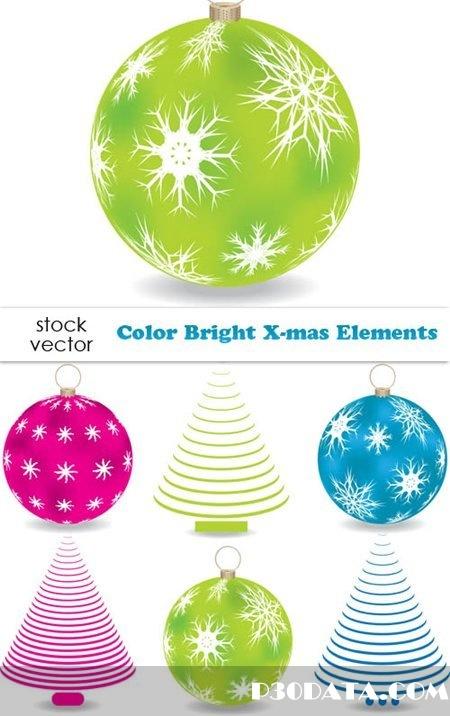 Vectors - Color Bright X-mas Elements