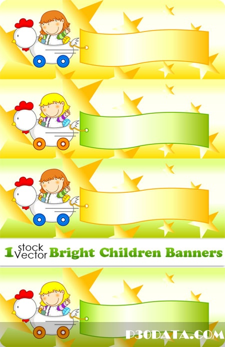 Bright Children Banners Vector