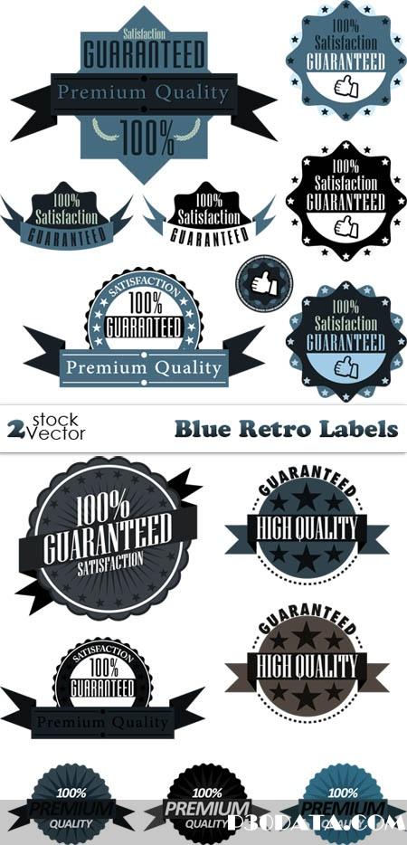 Vectors - Blue Retro Labels