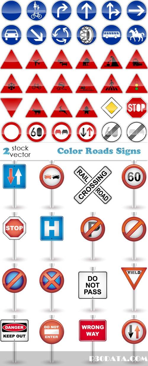 Vectors - Color Roads Signs