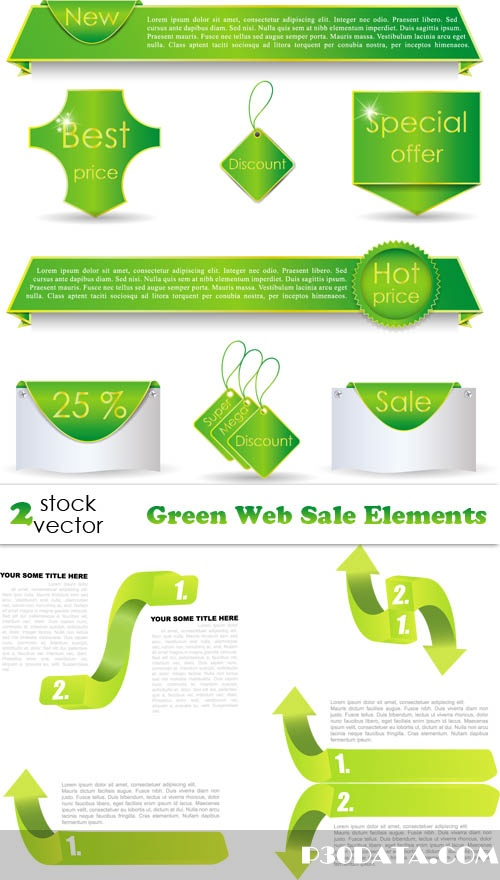 Vectors - Green Web Sale Elements